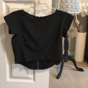 B Jewel Tops - Cap sleeve high low dressy crop top